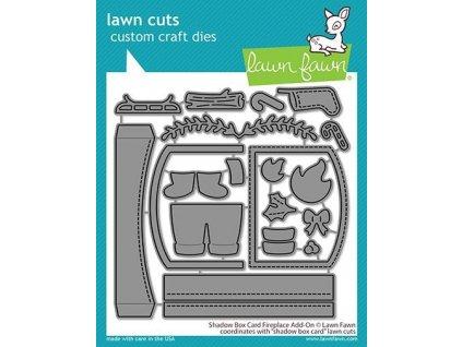lawn fawn shadow box card fireplace add on dies lf
