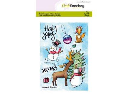 CraftEmotions - SNOWY & FRIENDS 2 - vánoční silikonová / gelová razítka