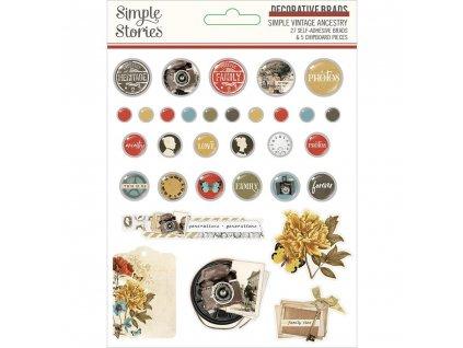 Simple Stories - VINTAGE ANCESTRY - brads, svorky