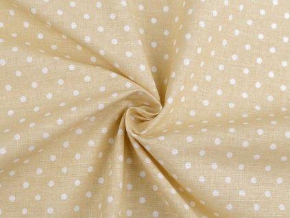 Bavlněná látka puntík / krémová - bílá / cca 30 x 80 cm