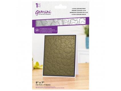 gemini lavish leopard print 3d embossing folder ge