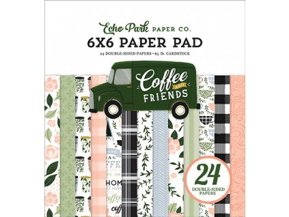 echo park coffee friends 6x6 inch paper pad cf2300