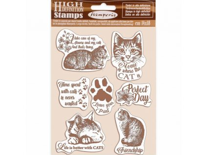 stamperia natural rubber stamp cats wtkcc188