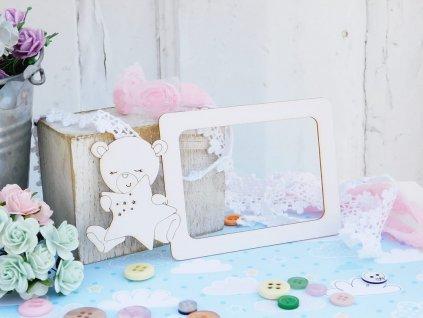Kreatywna Pracownia - 119 / SD201 / rámeček s medvídkem - kartonové ozdoby