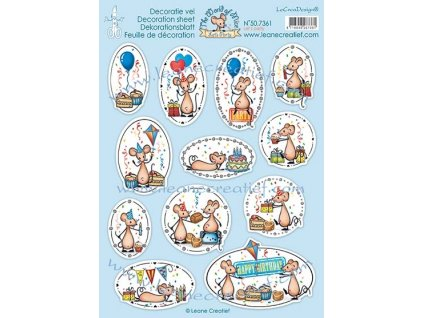 leane creatief the world of mice lets party 10pcs