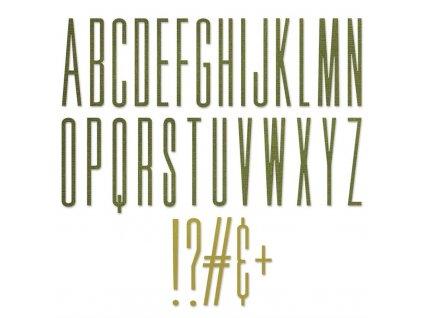 Sizzix / Thinlits - ALPHANUMERIC STRETCH UPPER - vyřezávací šablony, abeceda