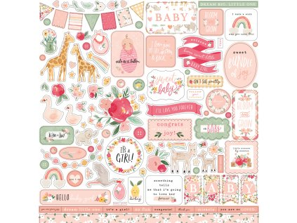 echo park welcome baby girl element sticker wbg233