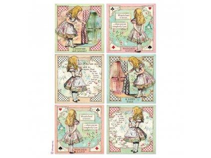 stamperia rice paper a4 alice cards dfsa4382