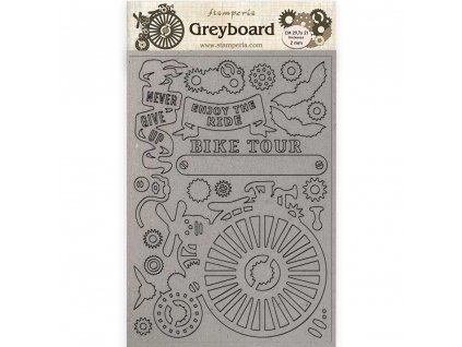 stamperia greyboard a4 voyages fantastiques bicycl