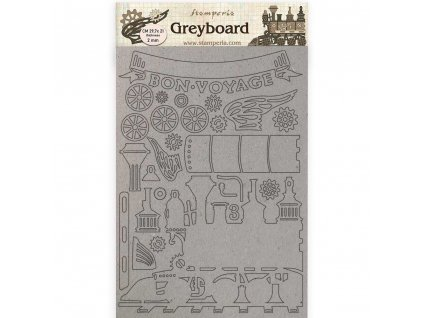 stamperia greyboard a4 voyages fantastiques train