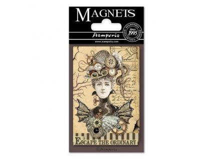 stamperia voyages fantastiques woman 8x55cm magnet