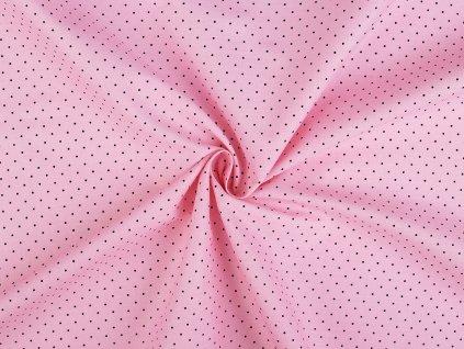 Bavlněná látka světle růžová, malý puntík / cca 30 x 70 cm