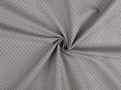 Bavlněná látka světle šedá, malý puntík / cca 30 x 70 cm