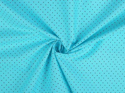 Bavlněná látka azurová, malý puntík / cca 30 x 70 cm