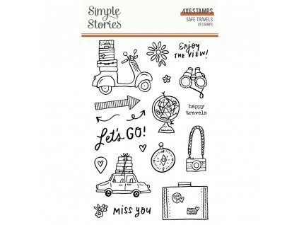 simple stories safe travels clear stamps 14825