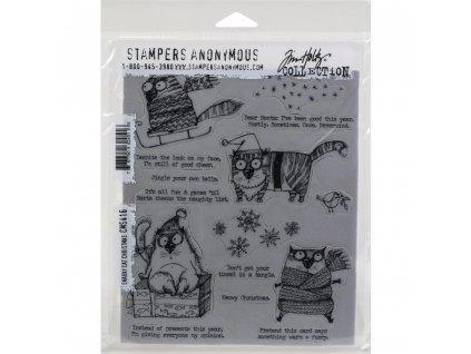 Stampers anonymous / Tim Holtz - SNARKY CAT CHRISTMAS - cling gumová razítka