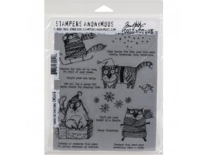 Stampers anonymous / Tim Holtz - SNARKY CAT CHRISTMAS - cling gumová razítka