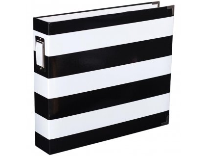 "American Crafts - BLACK & WHITE STRIPE - 12 x 12""  D-ring album na složky"