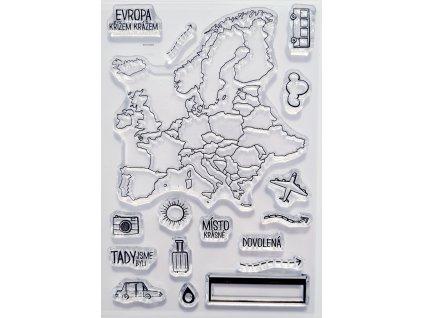 Hurá Papír - / CESTOVÁNÍ / mapa Evropy - silikonová razítka
