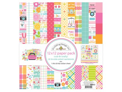 doodlebug design cute crafty 12x12 inch paper pack