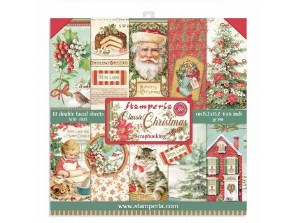 stamperia classic christmas 6x6 inch paper pack sb