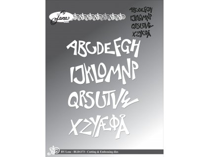 by lene funky alphabet cutting embossing dies bld1