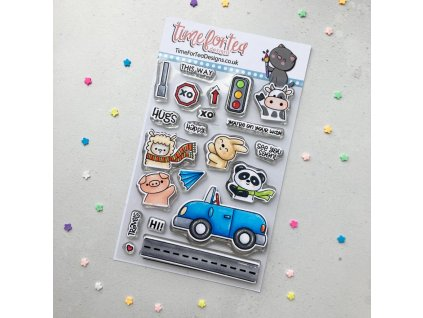time for tea car critters clear stamps t4t 657 car