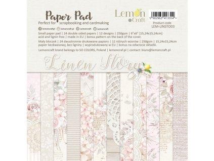 linen story bloczek papierow do scrapbookingu 15x15cm lemoncraft