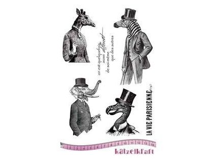 les anthropomorphes zebra rubber stamp french style