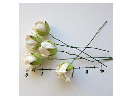 LARGE WHITE WILD ROSEBUDS / 5 ks - papírové kytky