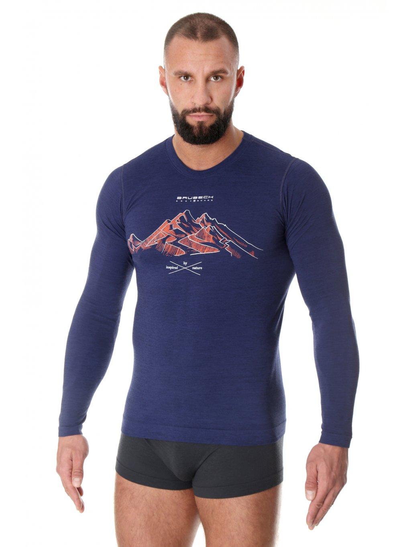 Brubeck pánské tričko dlouhý rukáv OUTDOOR WOOL PRO (Barva Tmavě modrá, Velikost XXL)