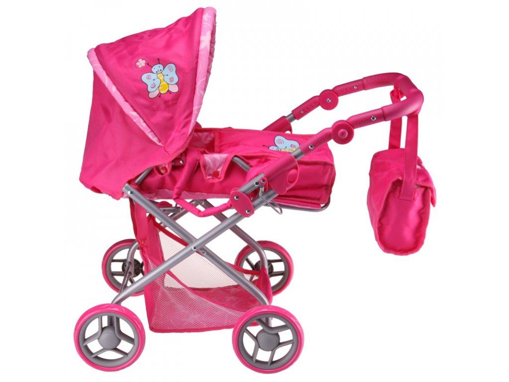 Kočárek pro panenky Monika růžový s motýlkem