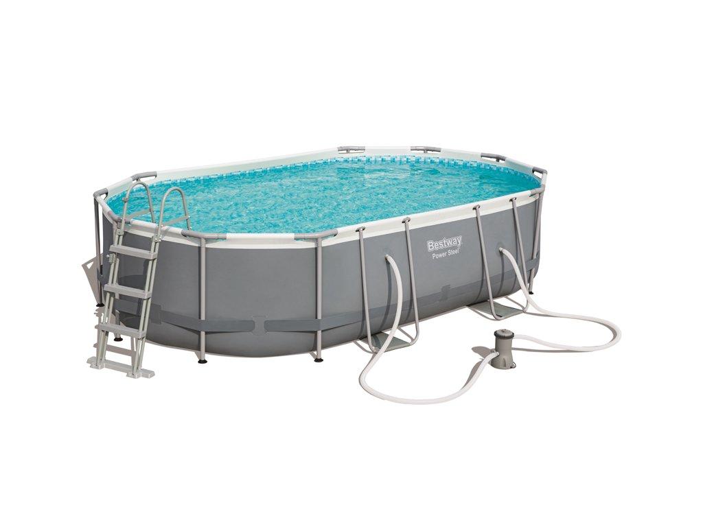 Bazén s konstrukcí s oválným půdorysem 488 x 305 x 107 cm se schůdky a filtrací