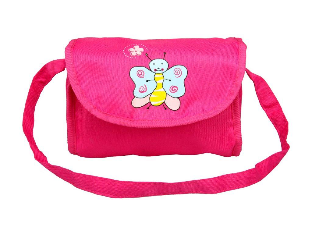 Taška na kočárek pro panenky růžová s motýlkem