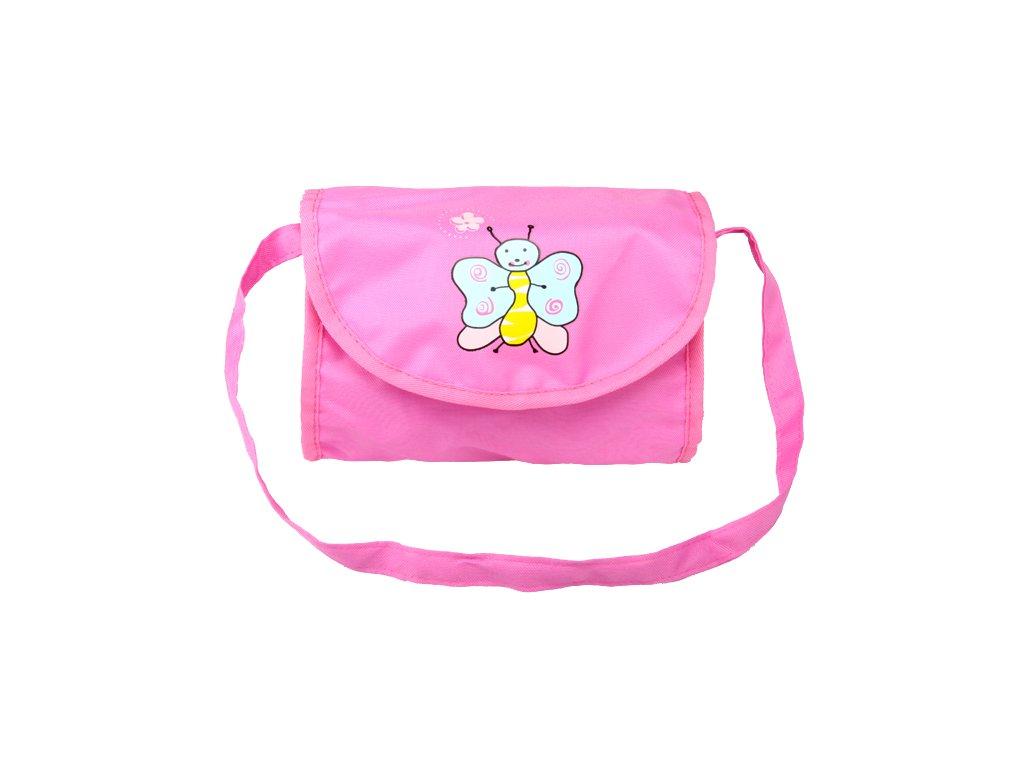 Taška na kočárek pro panenky růžovo - fialová s motýlkem