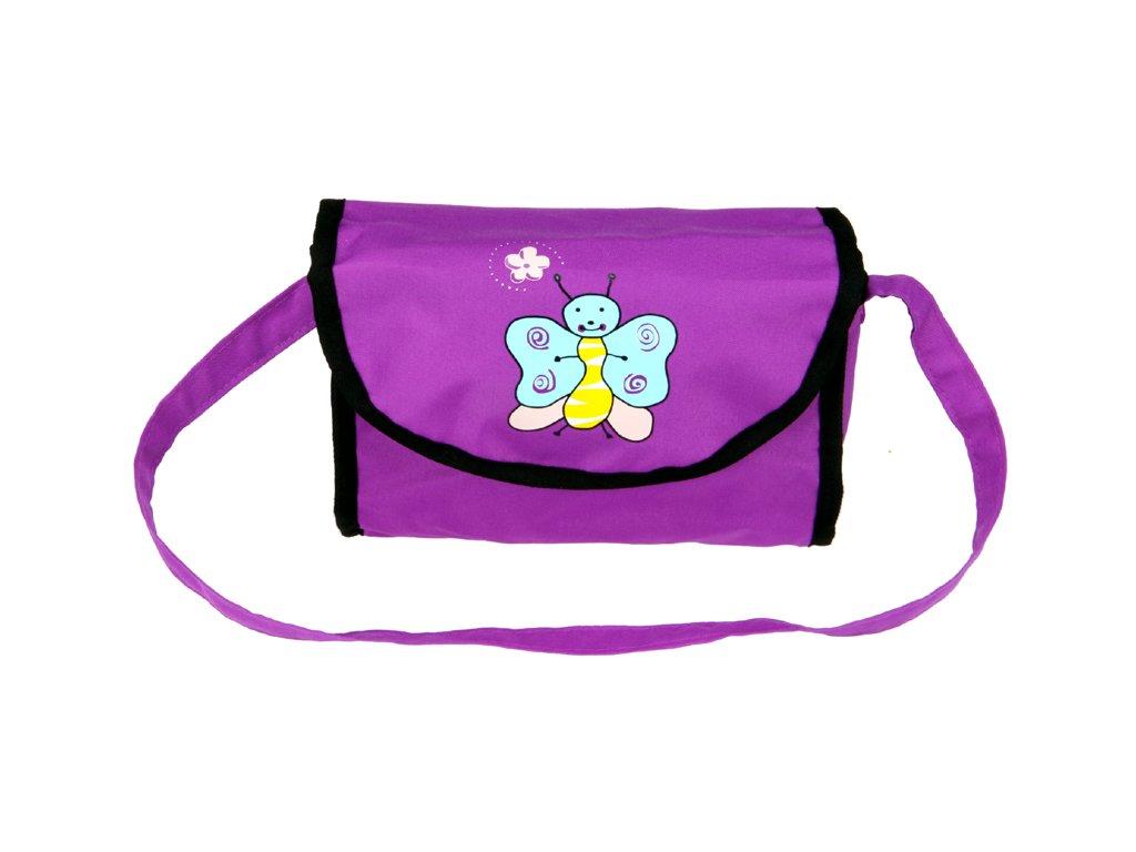 Taška na kočárek pro panenky fialová s motýlkem