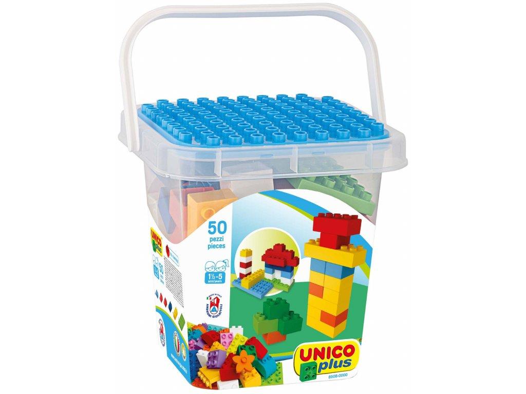 Stavebnice Unico Plus 50 ks kostiček v plastovém kyblíčku