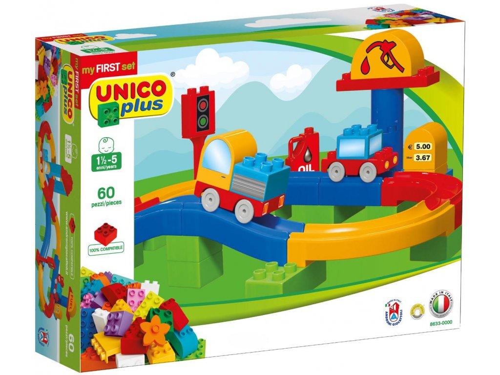 Stavebnice Unico Plus Dráha s autíčky 60 ks