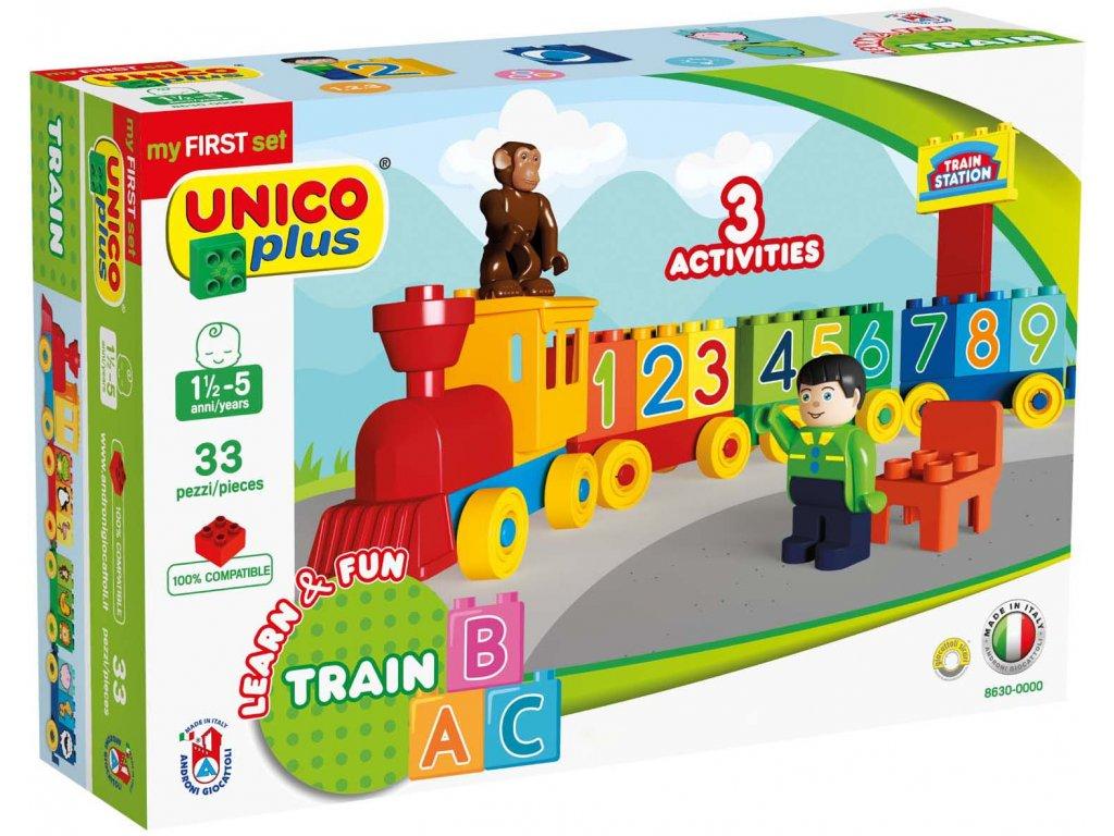 Stavebnice Unico Plus Vláček s číslicemi 33 ks