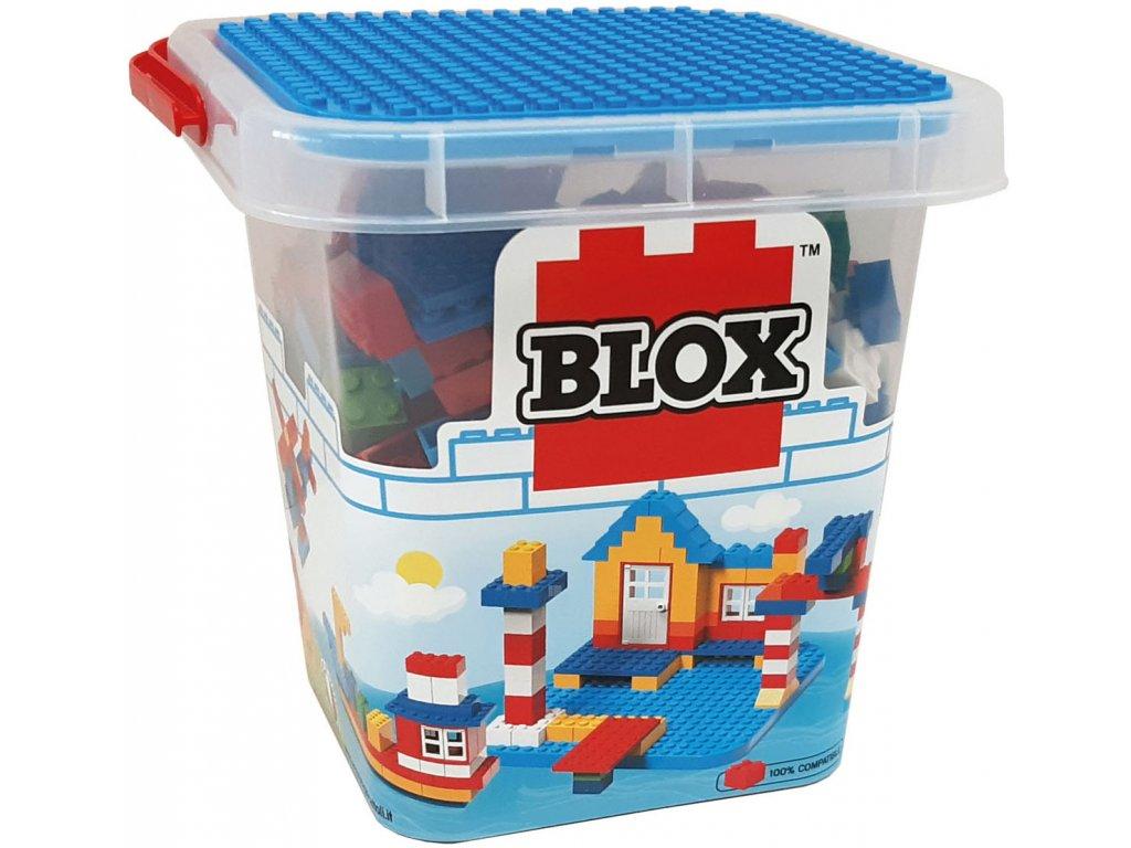 Stavebnice Blox 250 ks kostiček v plastovém kyblíčku