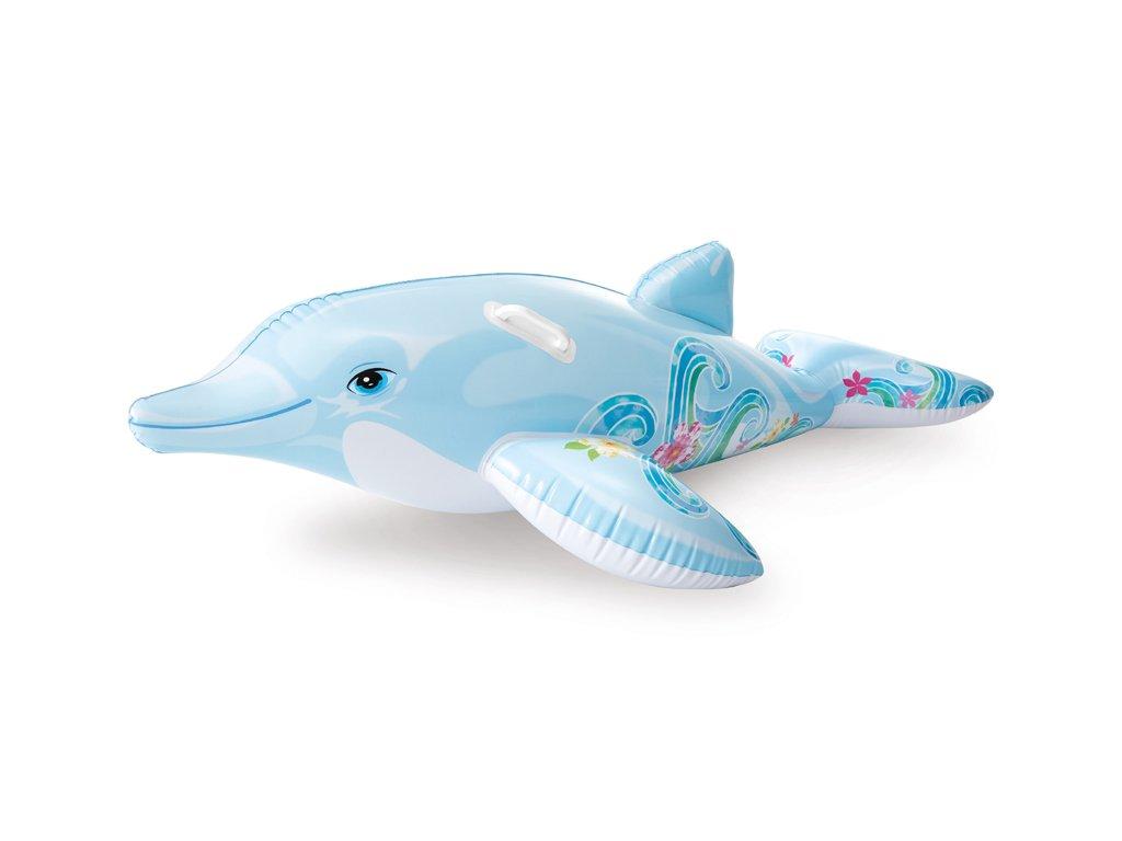 Nafukovací delfín s květy do vody 175 x 66 cm
