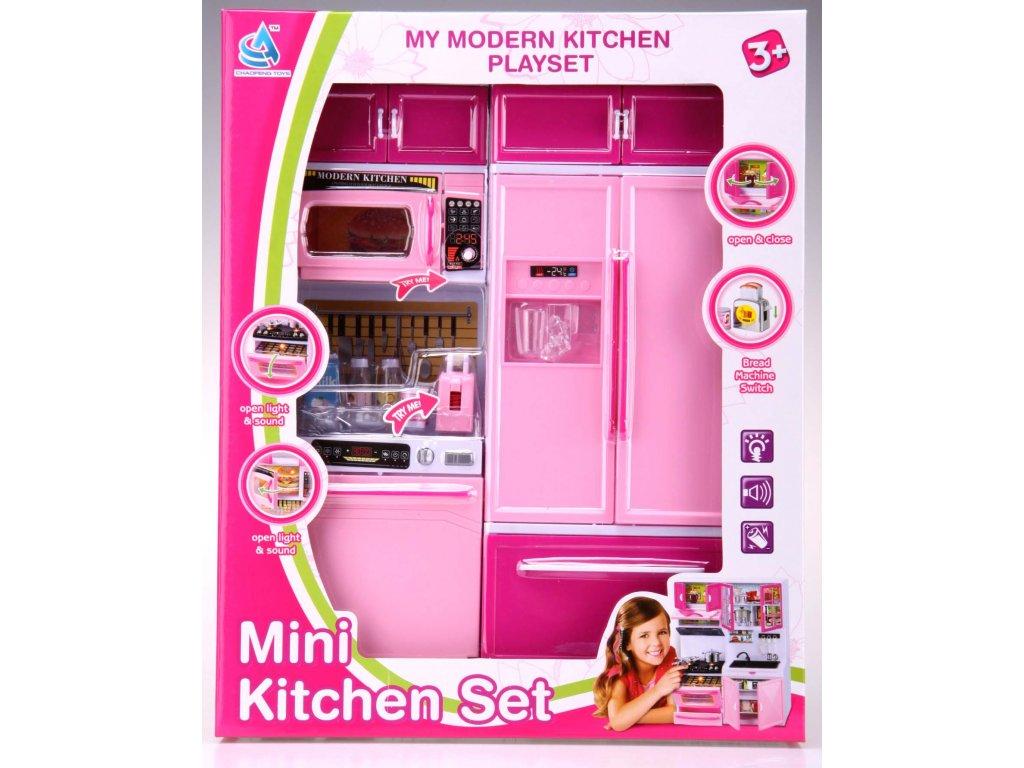 Kuchyňka pro panenky 2-dílná s myčkou a lednicí růžová