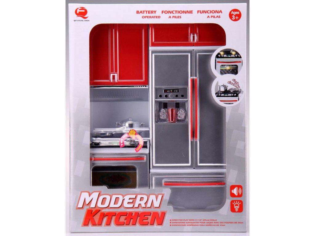 Kuchyňka pro panenky 2-dílná se sporákem a lednicí červená