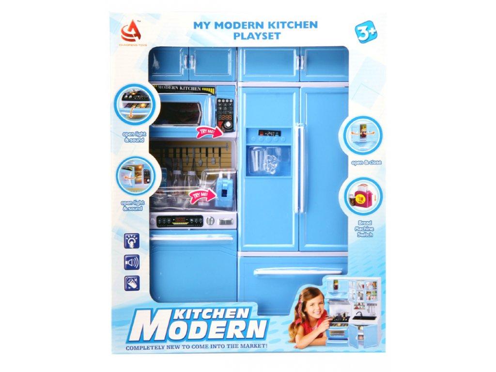 Kuchyňka pro panenky 2-dílná s myčkou a lednicí modrá