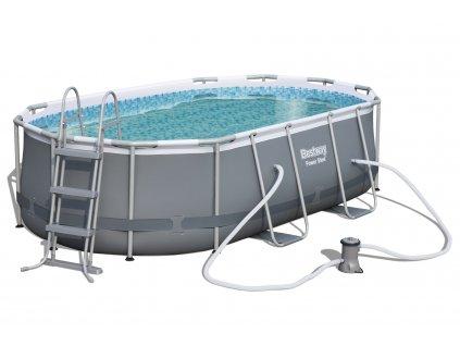Bazén s konstrukcí s oválným půdorysem 424 x 250 x 100 cm se schůdky a filtrací