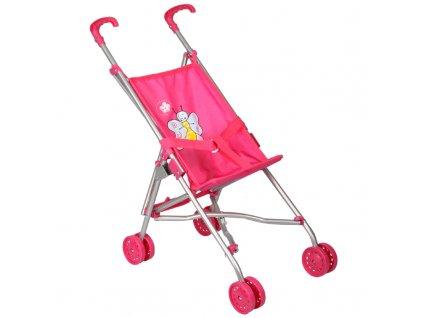 Kočárek pro panenky golfové hole růžové s motýlkem