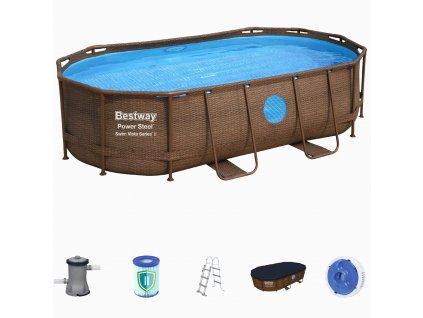 Bazén s konstrukcí s oválným půdorysem 424 x 250 x 100 cm RATTAN se schůdky a filtrací