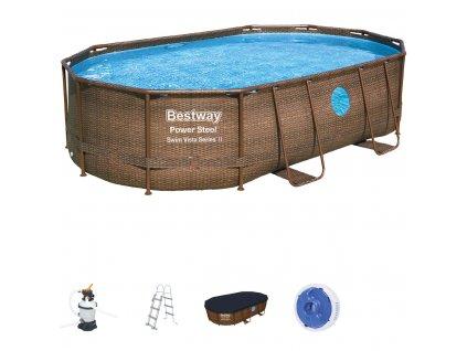 Bazén s konstrukcí RATTAN s oválným půdorysem 488 x 305 x 107 cm se schůdky a filtrací