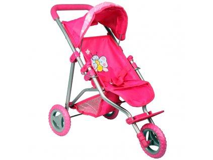 Kočárek pro panenky TM1 růžový s motýlkem