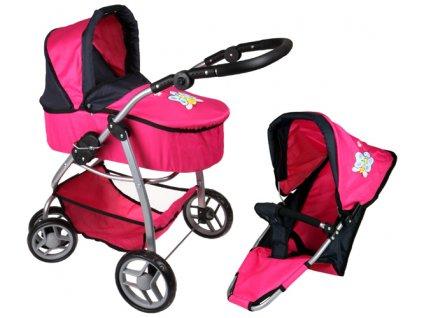 Kočárek pro panenky M4 růžový s motýlkem